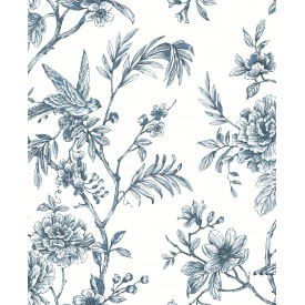 Jessamine Blue Floral Trail Wallpaper