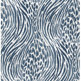 Splendid Blue Animal Print Wallpaper