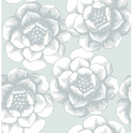 Fanciful Silver Floral Wallpaper