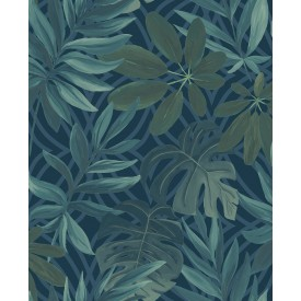 Nocturnum Blue Leaf Wallpaper