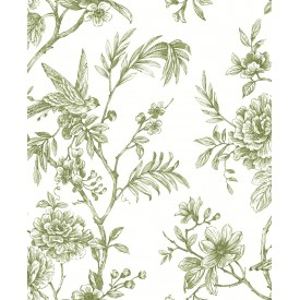 Jessamine Green Floral Trail Wallpaper