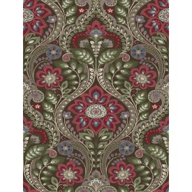 Night Bloom Chocolate Damask Wallpaper