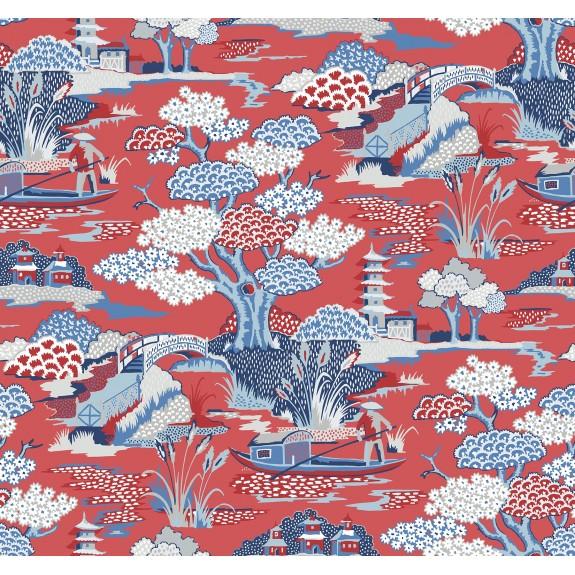 Joy De Vie Red Toile Wallpaper