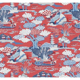 Joy De Vie Red Toile Wallpaper