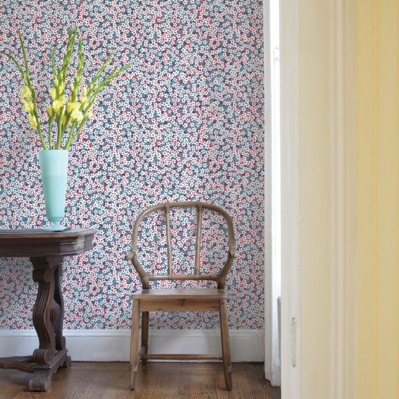 Giverny Red Miniature Floral Wallpaper