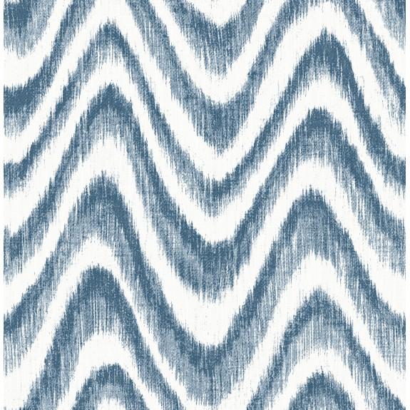 Bargello Blue Faux Grasscloth Wave Wallpaper