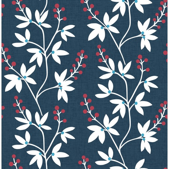 Linnea Elsa Navy Botanical Trail Wallpaper