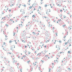 Featherton Coral Floral Damask Wallpaper