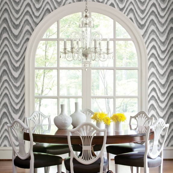 Bargello Grey Faux Grasscloth Wave Wallpaper
