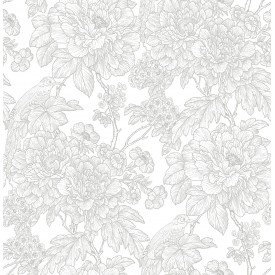 Birds of Paraside Breeze Grey Floral Wallpaper