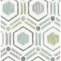 Borneo Light Green Geometric Grasscloth Wallpaper