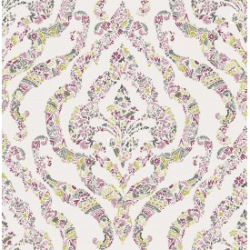 Featherton Pink Floral Damask Wallpaper