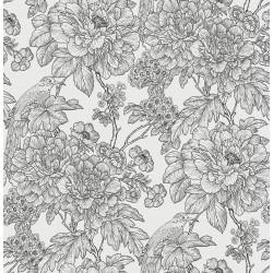 Birds of Paraside Breeze Black Floral Wallpaper