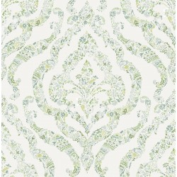 Featherton Light Green Floral Damask Wallpaper