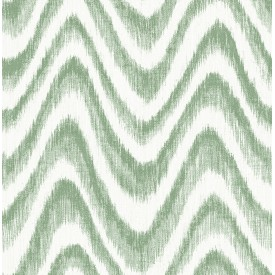 Bargello Green Faux Grasscloth Wave Wallpaper
