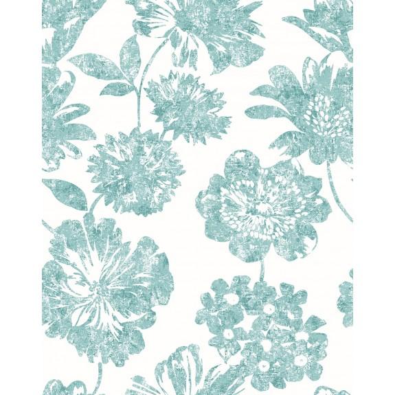 Folia Aqua Floral Wallpaper