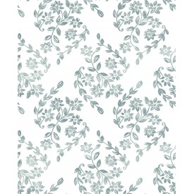 Arabesque Teal Floral Trail Wallpaper