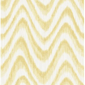 Bargello Yellow Faux Grasscloth Wave Wallpaper