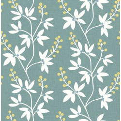 Linnea Elsa Teal Botanical Trail Wallpaper