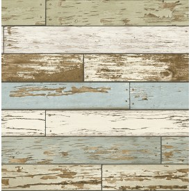 Scrap Wood Sky Blue Weathered Texture Wallpaper