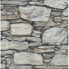 Stone Wall Grey Historic Wallpaper
