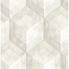 Rustic Wood Tile Cream Geometric Wallpaper