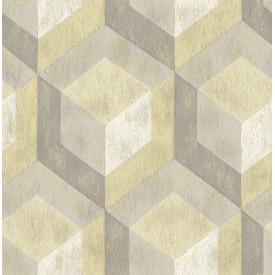 Rustic Wood Tile Honey Geometric Wallpaper