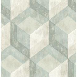 Rustic Wood Tile Green Geometric Wallpaper