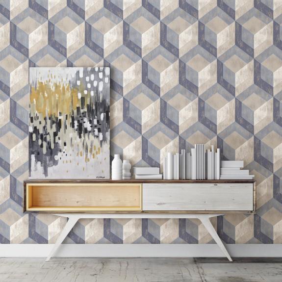 Rustic Wood Tile Blue Geometric Wallpaper