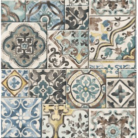 Marrakesh Tiles Teal Mosaic Wallpaper