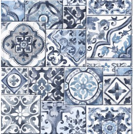 Marrakesh Tiles Blue Mosaic Wallpaper
