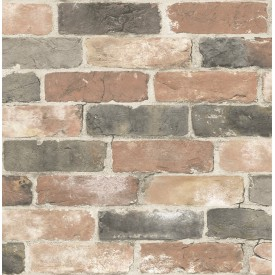 Reclaimed Bricks Dusty Red Rustic Wallpaper