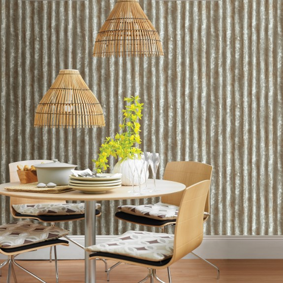 Corrugated Metal Grey Industrial Texture Wallpaper