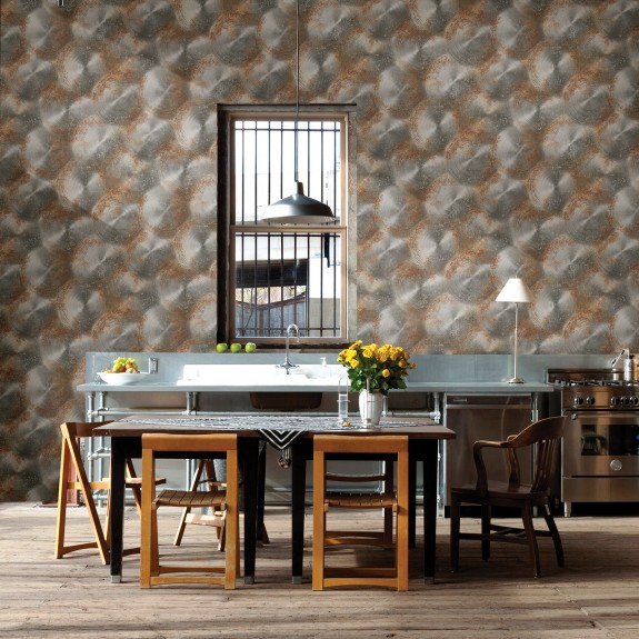 Tarnished Metal Silver Metallic Texture Wallpaper