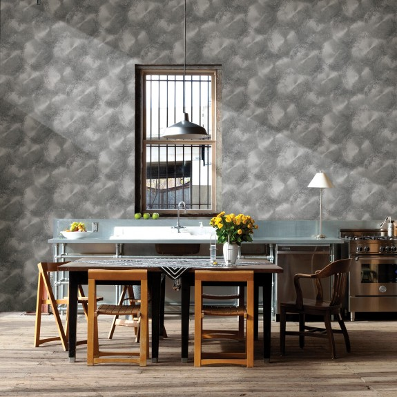 Tarnished Metal Pewter Metallic Texture Wallpaper
