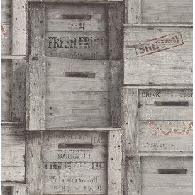 Wood Crates Grey Distressed Wood Wallpaper