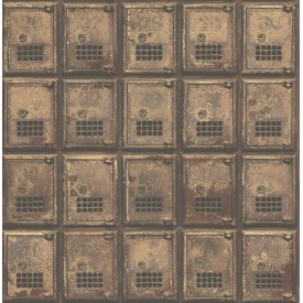 Vintage P.O. Boxes Rust Distressed Metal Wallpaper