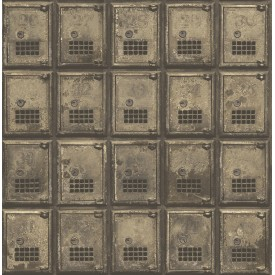 Vintage P.O. Boxes Brass Distressed Metal Wallpaper