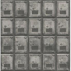 Vintage P.O. Boxes Charcoal Distressed Metal Wallpaper