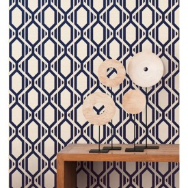 Navy Trellis Wallpaper